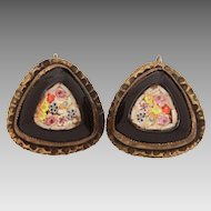 Art Deco Era Mosaic Earrings with Pastel Flowers in Black, Screw Back Earrings