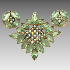 Light Green Open Back Prong Set Marquis Cut Rhinestones Pin & Earrings Set with AB Chatons Stones, Diamond or Square Shape Pin