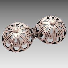 Sterling Arts & Crafts Sash Buckle, Pierced Silver Belt Buckle Breast Shape