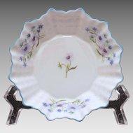Shelley Sweet Meat Dish Blue Rock Pattern Dainty Shape, Flower Center, Small Bowl