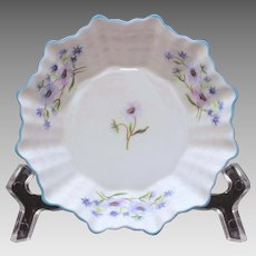 Shelley Sweet Meat Dish Blue Rock Pattern Dainty Shape, Flower Center, Small Bowl