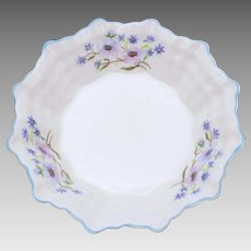 Shelley Sweet Meat Dish Blue Rock Pattern Dainty Shape, Plain Center, Small Bowl, Sweetmeat