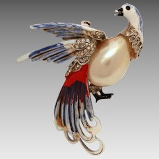1940s Bird of Paradise Pin Red White Blue Cold Enamel with Faux Pearl and Rhinestones, Patriotic Bird Brooch, War Era Pin