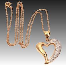 "14k Pave Diamonds Open Heart Pendant on 14k Yellow Gold 15"" Chain, 14k Diamond Necklace"