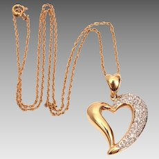 "14k Pave Diamonds Open Heart Pendant on 14k Yellow Gold 15"" Chain, 14k Diamond Necklace"