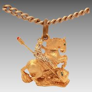 KJL Saint George Slaying the Dragon Pendant Necklace, Rhinestone Encrusted Knight Designer Kenneth Jay Lane