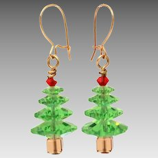 Swarovski Crystal Bead Christmas Tree Earrings, Vintage Xmas Pierced Dangle Earrings