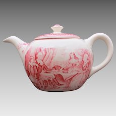 Homer Laughlin Teapot George Washinton Mount Vernon American Subject Currier & Ives, Washington and Family, Washington At Mt Vernon
