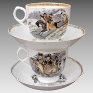Antique Staffordshire 2 Cups & Saucers Black Transferware with Orange Luster Wales England Scenes, Welsh Fashion