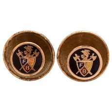 2 Antique Knights of Pythias Lapel Pins or Collar Buttons, Enameled Screw Back Pin Set