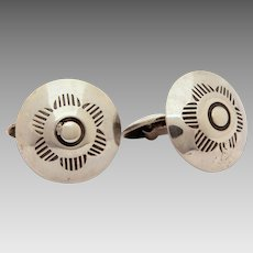 Sterling Concho Cufflinks Southwest Native American Indian Cuff Links