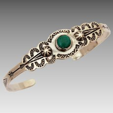 Fred Harvey Era Child Size Sterling Turquoise Navajo Cuff Bracelet with Native American Indian Arrows, Peyote Birds, Conchos