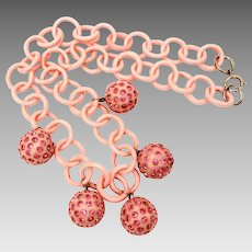Pink Celluloid Chain Necklace with Rhinestone Dotted Ball Pendant Dangles