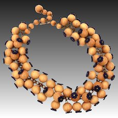 Wood Bead & Navy Blue Celluloid Flowers Vintage Necklace, Neck Ruff Style