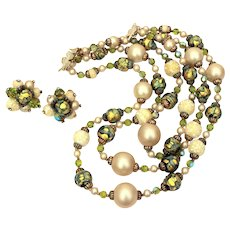 Vendome Triple Strand Necklace & Earrings Green Glass Foiled Beads, Textured White Glass, Faux Pearls