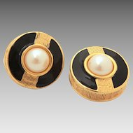 Givenchy Logo Earrings with Faux Pearls & Black Enamel, Clip On Haute Couture Jewelry