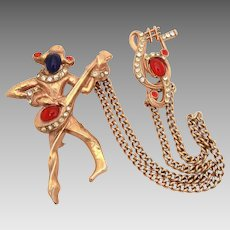 Mandel Harlequin or Pierrot Troubadour Minstrel Chatelaine Pins, Book Piece