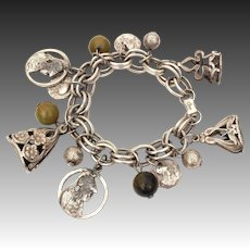 Coro Charm Bracelet with Art Nouveau Wax Seal Watch Fob Charms, Faux Roman Coins, Green Bakelite Beads