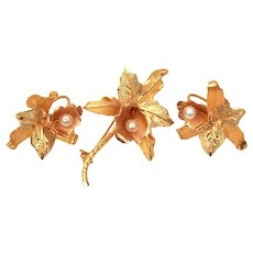 18k Gold Orchid Flower Pin & Screw Back Earrings Set