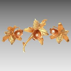 18k Gold Orchid Flower Pin & Screw Back Earrings Set