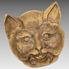 Brass Cat Face Trinket Dish Victorian Revival Kitty