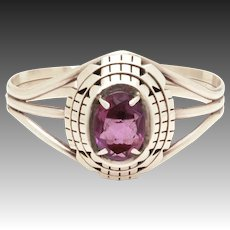 B. Piaso Jr Navajo Sterling Amethyst Cuff Bracelet Native American Silver