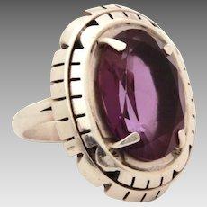 B. Piaso Jr Navajo Sterling Amethyst Ring, Size 7 1/2, Native American Indian Silver