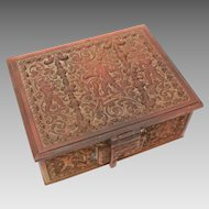 Antique Bronze Jewel Casket, Ornate Renaissance Revival Cherubs Putti Dresser Jewelry Box