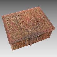 Antique Bronze Jewel Casket, Ornate Renaissance Revival Cherubs Putti Dresser Jewelry Box