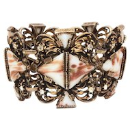 Large Unsigned Selro Selini Bracelet Triangle Milk Glass Stones with Goldstone Aventurine