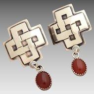 James Reid Sterling Earrings, Southwest Santa Fe Cross & Carnelian Cabochon Dangle Pierced, JR Ltd SF