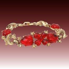 Coro Red Glass Fruit Salad Bracelet, Flower Centerpiece with Heart Shaped Petals