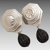 Stephen Dweck Greco Roman Soldier Sterling Dangle Earrings, Cameo & Intaglio Busts