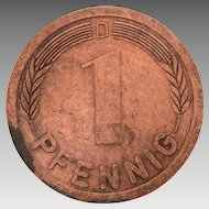 "Giant German Coin Paperweight, Copper 1 Pfennig, Large 2 3/8"" Germany Travel Souvenir"