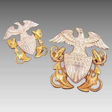 WWII USN Amico Sterling Gold Plated Pins, United States Navy Anchor Shield Eagle