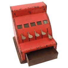 1940s Durable Toy & Novelty Company Red Tin Cash Register, Money Drawer, Cash Till