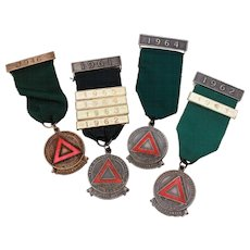 4 English Safe Driving Competition Medals, Royal Society for the Prevention of Accidents 5 Year Safe Driver Award, Red Enamel Triangle