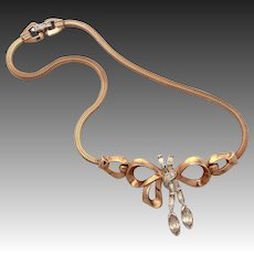"1940s Mazer Rhinestone Dangle Bow Necklace with Snake Chain, Unsigned Joseph Mazer 14 3/4"" Long"