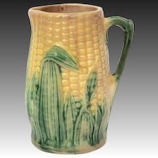 Antique Majolica Ear of Corn Pitcher, Small Pottery Jug
