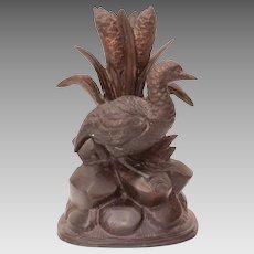"""Victorian Pot Metal Duck in Cattails Sculpture, Bronzed Metal Vase 7.75"""""""