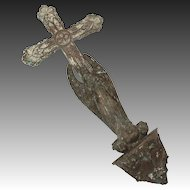 Antique Funereal Cross and Angel with Bible & Lilies, Baroque Style Bronze or Brass