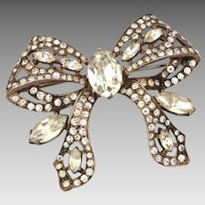 Sterling Eisenberg Original Rhinestone Bow Pin, Signed 1940s Brooch