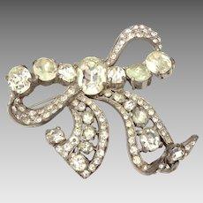 "Large Eisenberg Original Early 1940s Crystal Rhinestone 3"" Dimensional Bow Pin"
