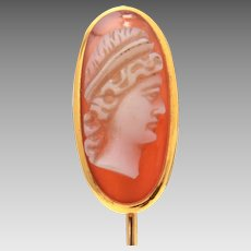 Antique 10k Gold Hard Stone Carved Cameo Stickpin, Cravat Stick Pin