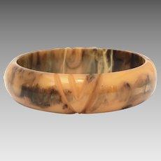 Carved Marbled Bakelite Bangle Bracelet, Brown & Butterscotch, Simichrome Tested Genuine