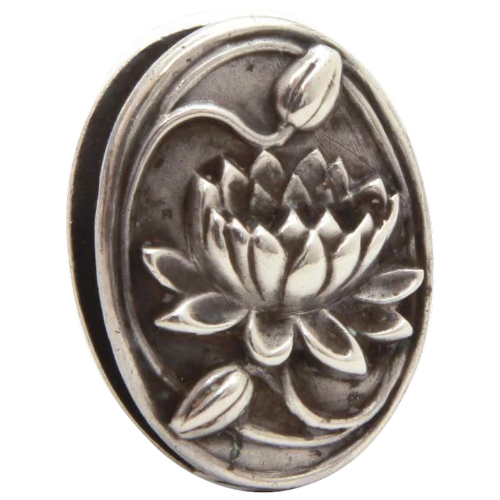 1950s Nouveau Revival Sterling Silver Water Lily Pin by Jewelart