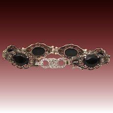 """Art Deco Bracelet 800 Silver Marcasites Black Gems, Extender Added for 8.5"""" Long"""