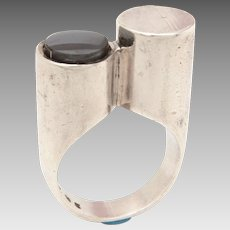 Mid Century Modern Denmark Ring by Three + Three Jewelers in Sterling & Hematite, Signed T+TJ