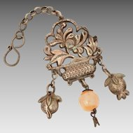Antique Chinese Pendant Flower Basket or Vase on Stand with Peach Dangles, Stone Bead with Enamel Cap, Export Silver