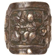 Chinese Export Silver Ring Repousse, Man in Garden with Butterfly Details, Adjustable Band